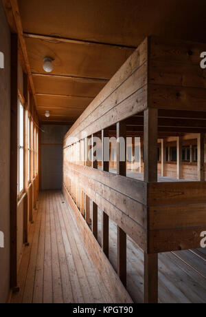 Germany, Bavaria, Munich-Dachau, WW2-era Nazi concentration camp, barracks building, interior - Stock Photo