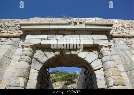 GREECE, CRETE, Lasithi Province, Spinalonga Island: 16th Century Venetian Fortress, Waterfron Gate - Stock Photo