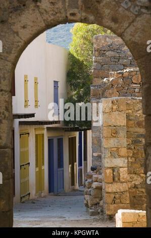 GREECE, CRETE, Lasithi Province, Spinalonga Island: 16th Century Venetian Fortress, Archway - Stock Photo
