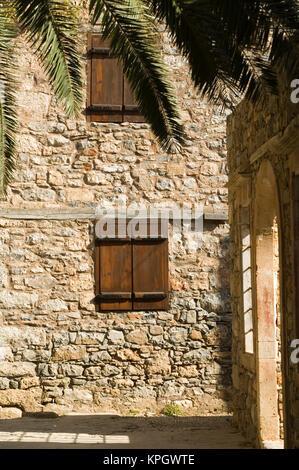 GREECE, CRETE, Lasithi Province, Spinalonga Island: 16th Century Venetian Fortress, Building Details - Stock Photo