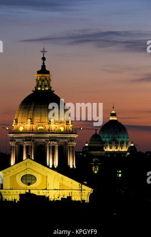 Italy, Rome. View from atop the Spanish Steps. Basilica dei Santi Ambrogio e Carlo al Corso, St. Peter's Basilica - Stock Photo