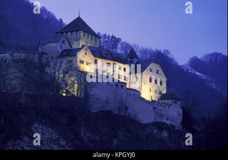 Liechtenstein, Vaduz. Vaduz Castle in evening light - Stock Photo