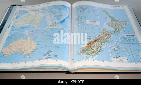 Africa political map of the world with countries in four colors countries name typography world map on military fabric texture background concise world atlas australia oceania new zealand page south africa gumiabroncs Images