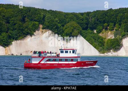 Boat trip to the chalk cliffs, Jasmund National park, Ruegen island, Mecklenburg-Western Pomerania, Baltic Sea, - Stock Photo