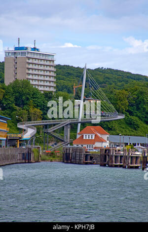 Hotel Ruegen and pedestrian bridge, connect city with harbour, Sassnitz, Ruegen island, Mecklenburg-Western Pomerania, Baltic Sea, Germany