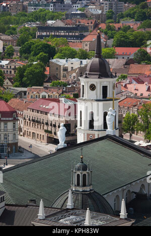 Lithuania, Vilnius, Gediminas Hill elevated view of Old Town, Royal Palace and Vilnius Cathedral - Stock Photo