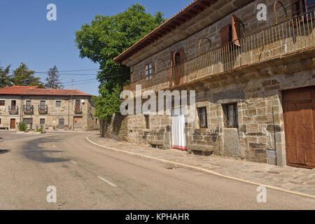 Village of Villardeciervos, La Culebra mountain, Zamora province,Spain - Stock Photo