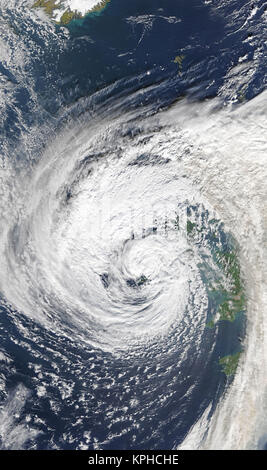 Hurricane Ophelia weakened and devolved into a post-tropical cyclone on the evening of October 15, 2017. However, - Stock Photo