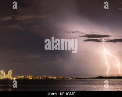A storm at night in Miami Beach, Florida - Stock Photo