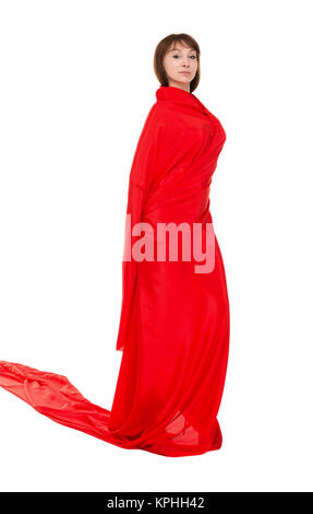 Beautiful Woman in Red Long Dress - Stock Photo