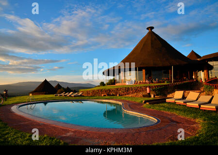 Ngorongoro Sopa Safari lodge and pool, Tanzania - Stock Photo