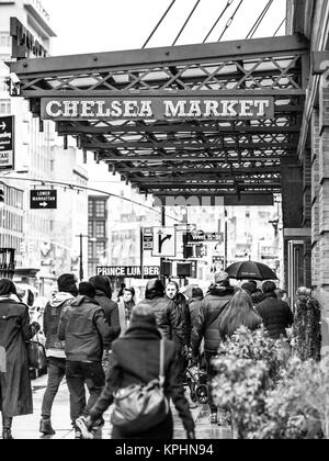 NEW YORK, USA - January 3, 2015: Chelsea Market on 9th avenue. The market has a number of eateries and food outlets. - Stock Photo