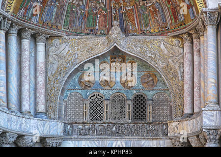 VENICE, ITALY - DECEMBER 19: St Mark Cathedral Mosaic in Venice on DECEMBER 19, 2012. Exterior Detail of St Marks - Stock Photo
