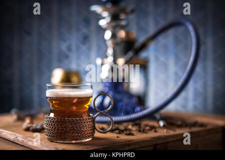 Black tea in glass cup - Stock Photo