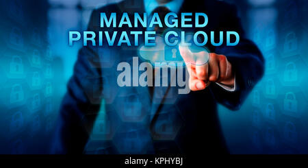 Enterprise Tenant Pushing MANAGED PRIVATE CLOUD - Stock Photo