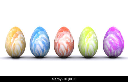 Cheerful Easter background with colorful decorated eggs - Stock Photo