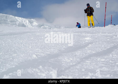 Elbrus, Russia - January 31, 2017: Ski slope on the Mount Elbrus with people at an indistinct background, , the - Stock Photo