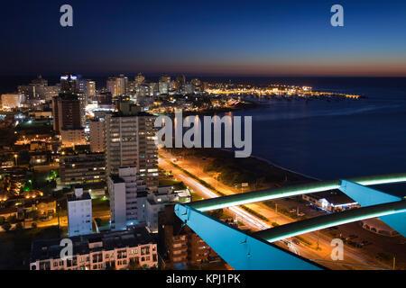 Uruguay, Maldonado Department, Punta del Este. Evening aerial view. - Stock Photo