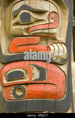 North America, USA, AK, Inside Passage, Kake. Tlingit Totem Pole detail - Stock Photo