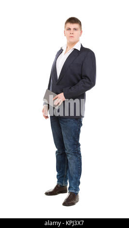 Full Length Portrait Confident Young Businessman with a Modern Tablet Pc - Stock Photo