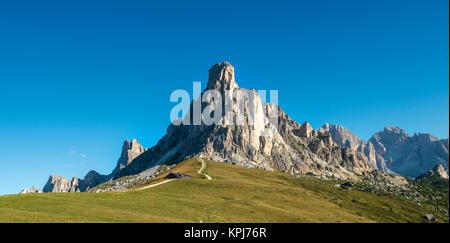 La Gusela peak at Passo Giau, Dolomites, South Tyrol, Trentino-Alto Adige, Italy - Stock Photo