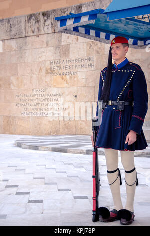 Evzones in front of the Tomb of the Unknown Soldier at Syntagma square - Stock Photo