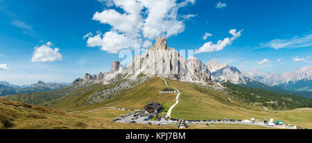 Pass road, Passo Giau with summit La Gusela, at the back summits Averau and Tofane, Dolomites, South Tyrol, Trentino - Stock Photo
