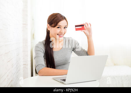 Woman Shopping Online Using Laptop With Credit Card - Stock Photo