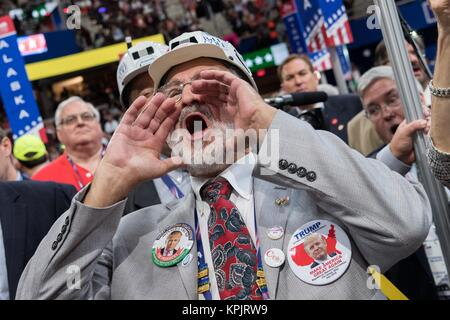 Coal supporters wear miners hats with pro-Trump slogans during an address on coal during the second day of the Republican - Stock Photo