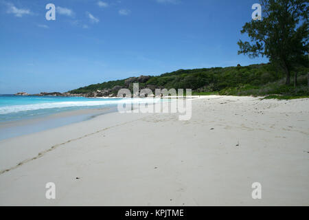 Rocky beach, La Digue Island, Seychelles. - Stock Photo