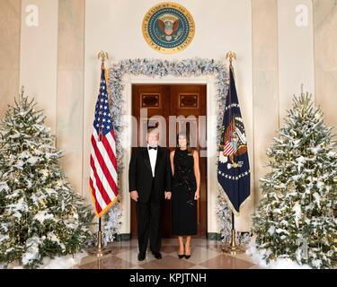 U.S. President Donald Trump and First Lady Melania Trump pose for the official White House Christmas photo at the - Stock Photo