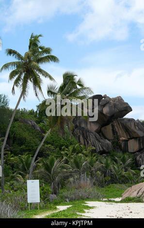 Rocky beach, La Digue Island, Seychelles. - Stock Photo