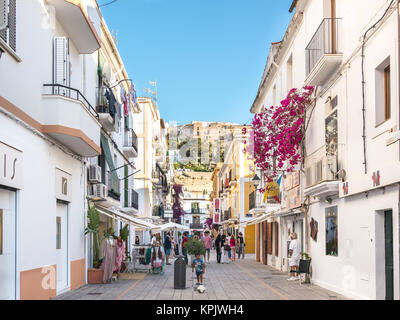 Ibiza, Spain - May 23, 2015. Little cozy and white streets in the center of the Ibiza old town. - Stock Photo