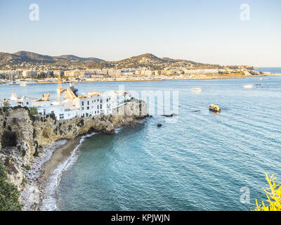 View of Ibiza houses over a cliff - Stock Photo