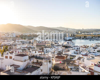Ibiza, Spain - May 23, 2015. Sunset in Ibiza seen from the top of Dalt Vila - Stock Photo