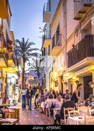 IBIZA, SPAIN - MAY 23, 2015. View of the Ibiza old town streets in Dalt Vila plenty of restaurants and businesses. - Stock Photo