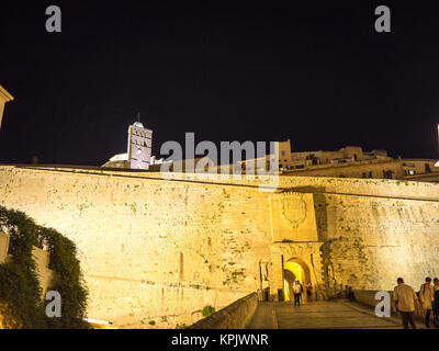 Ibiza, Spain - May 23, 2015. View of the entry ramp to the Ibiza old town fortress at night. - Stock Photo