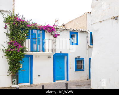 IBIZA, SPAIN - MAY 23, 2015. The distinctive Ibiza architecture reflects a mediterranean style. - Stock Photo