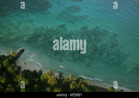 Aerial view of town, Mahe Island, Seychelles. - Stock Photo
