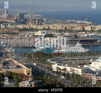 Aerial view of buildings in Barcelona city, Spain. - Stock Photo