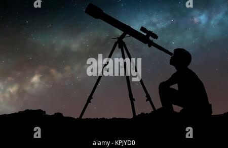 Artwork of a boy looking through a telescope, seen in silhouette against the star clouds of the Milky Way. The boy - Stock Photo