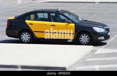 Yellow Taxi Cab Parking Lot At Miami International Airport