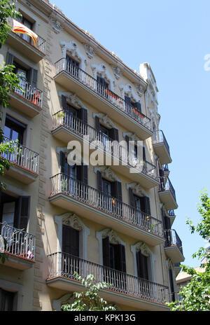 Apartment building, Barcelona, Spain. - Stock Photo