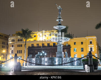 LIMA, PERU - SEPTEMBER 17, 2015. In Lima, in the Plaza de Armas (Main Square) the architecture remains as in the - Stock Photo
