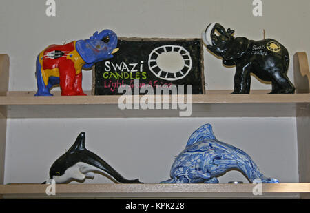 Elephant and dolphin shaped candles on display, Kingdom of Swaziland. - Stock Photo