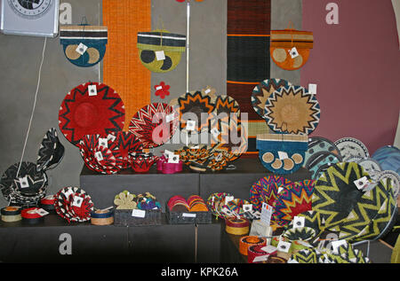 Woven basket souvenirs on display, Kingdom of Swaziland. - Stock Photo