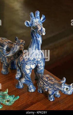 Elephant, giraffe and rhino shaped candles on display, Kingdom of Swaziland. - Stock Photo