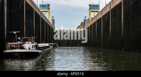 Iron Gate, Hydroelectric Power Station, the largest dam on the Danube River and one of the largest hydro power plants - Stock Photo
