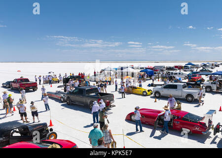 Competitors stage for starting line at Bonneville Salt Flats during Bonneville Speed Week 2017; Wendover, Utah, - Stock Photo