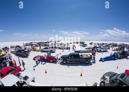 Various car classes stage at starting line on Bonneville Salt Flats for attempted speed records during Bonneville - Stock Photo